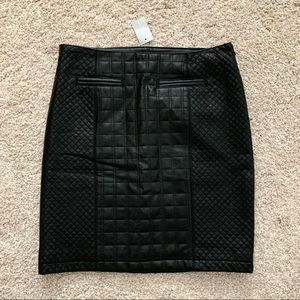 NWT Ann Taylor Black Quilted Faux Leather Skirt